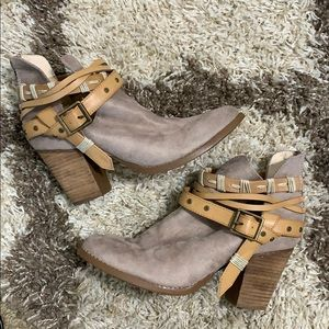 Altar'd State | Faux Suede Tan Booties w/ Buckles